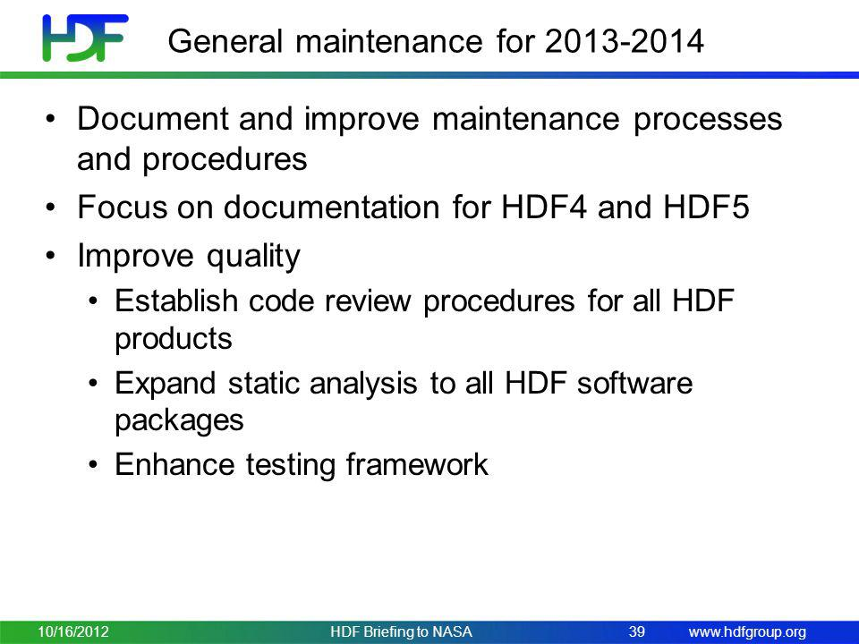 General maintenance for 2013-2014
