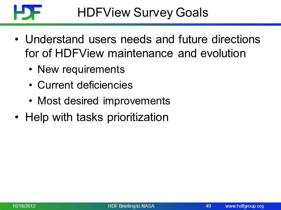 HDFView Survey Goals Understand users needs and future directions for of HDFView maintenance and evolution.