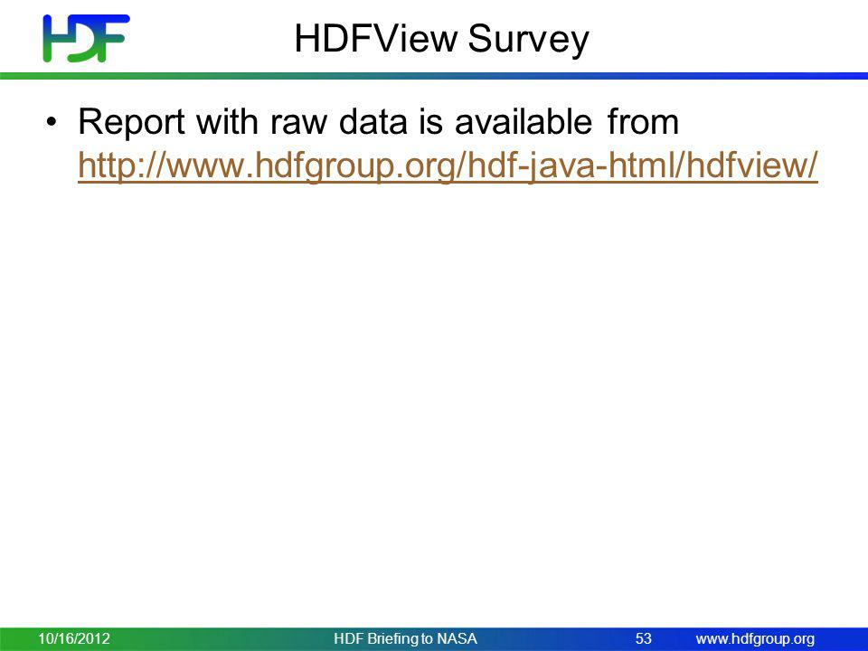 HDFView Survey Report with raw data is available from http://www.hdfgroup.org/hdf-java-html/hdfview/