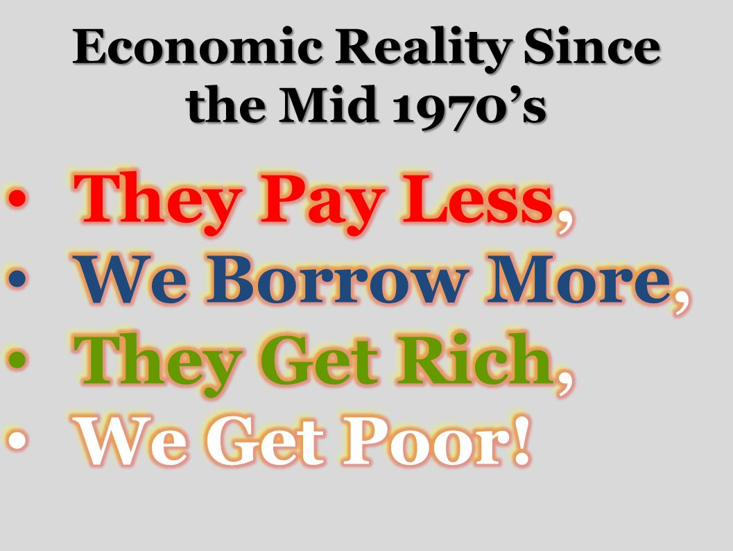 Economic Reality Since the Mid 1970's