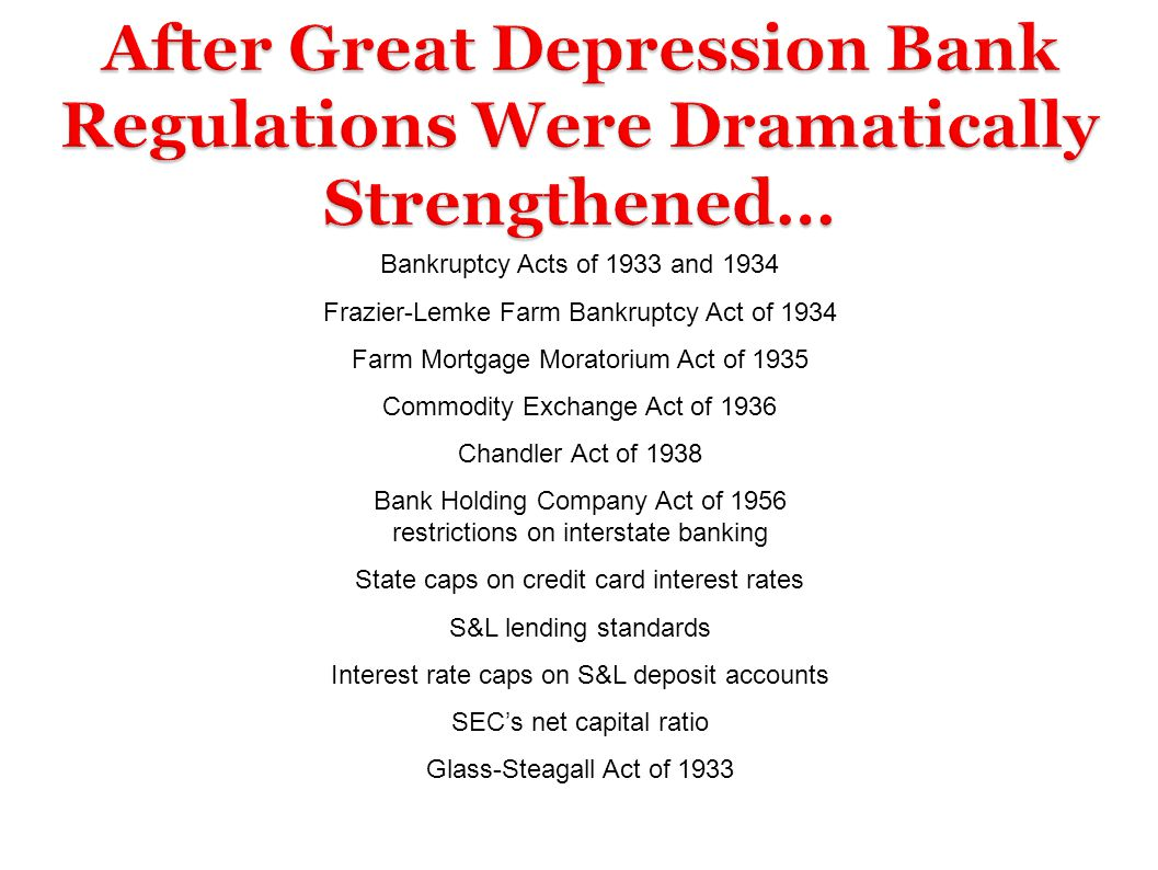 After Great Depression Bank Regulations Were Dramatically Strengthened…