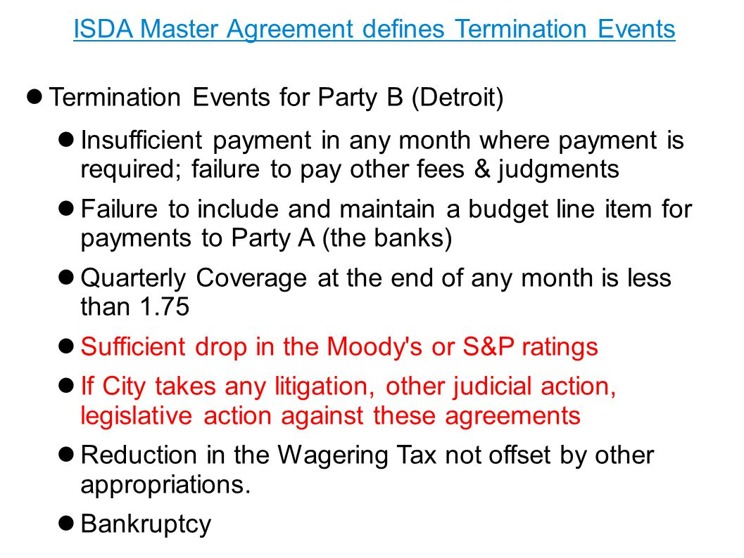 ISDA Master Agreement defines Termination Events