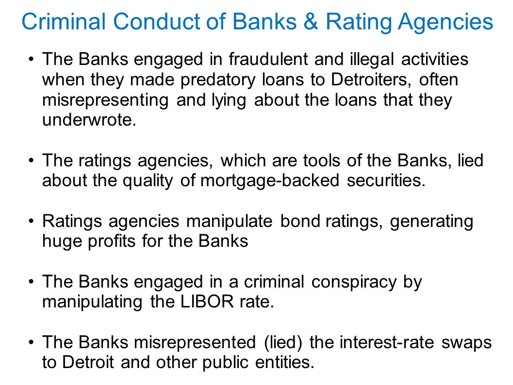 Criminal Conduct of Banks & Rating Agencies