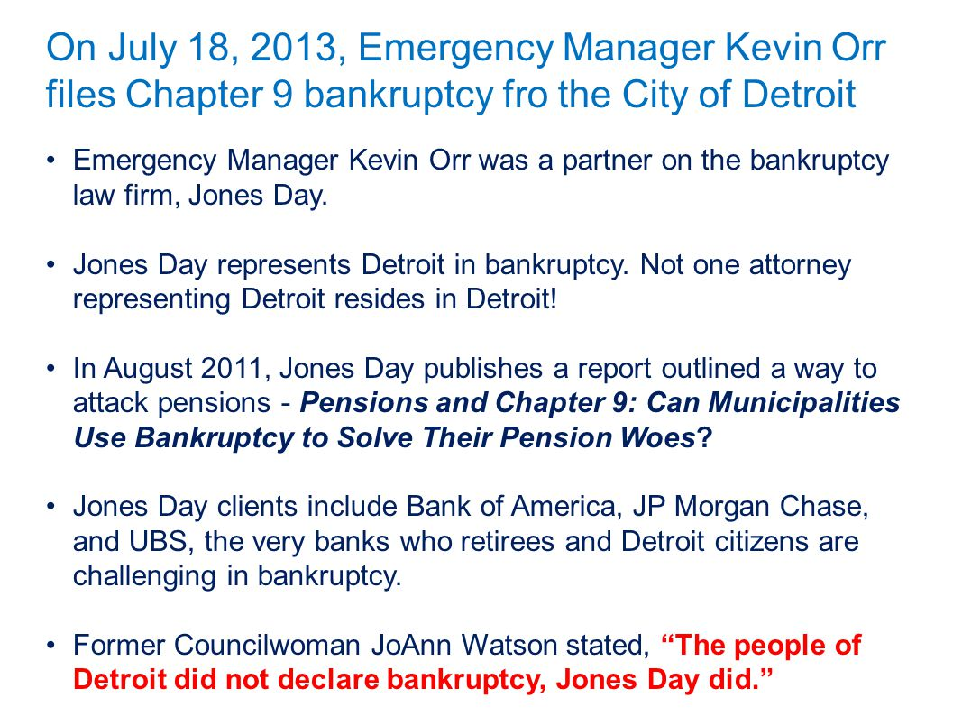 On July 18, 2013, Emergency Manager Kevin Orr files Chapter 9 bankruptcy fro the City of Detroit