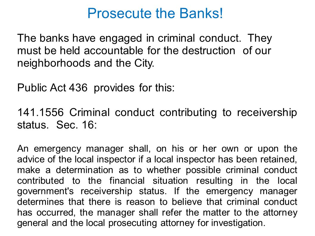 Prosecute the Banks!