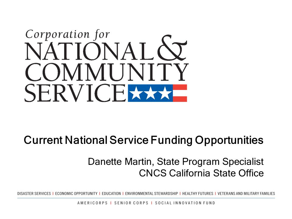 Current National Service Funding Opportunities