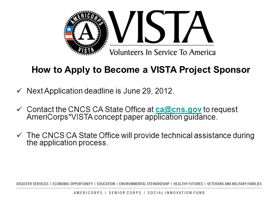 How to Apply to Become a VISTA Project Sponsor