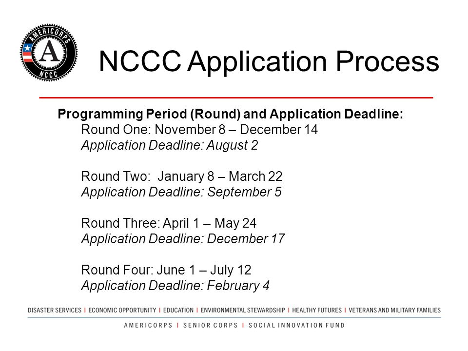 NCCC Application Process