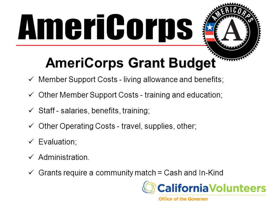 AmeriCorps Grant Budget
