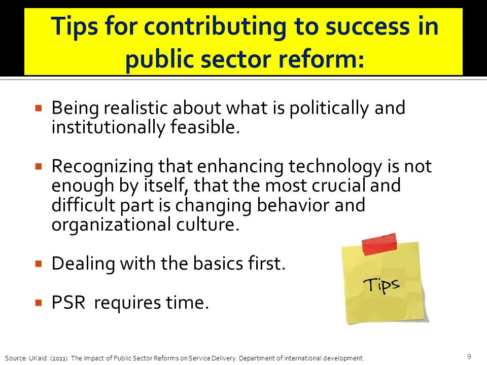 Tips for contributing to success in public sector reform: