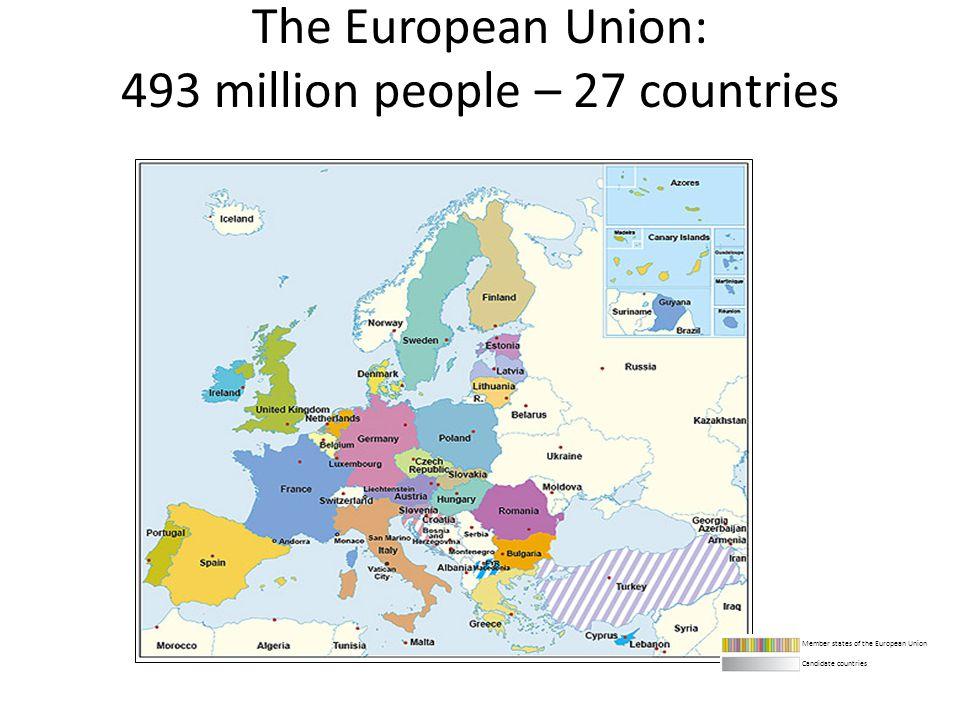 The European Union: 493 million people – 27 countries