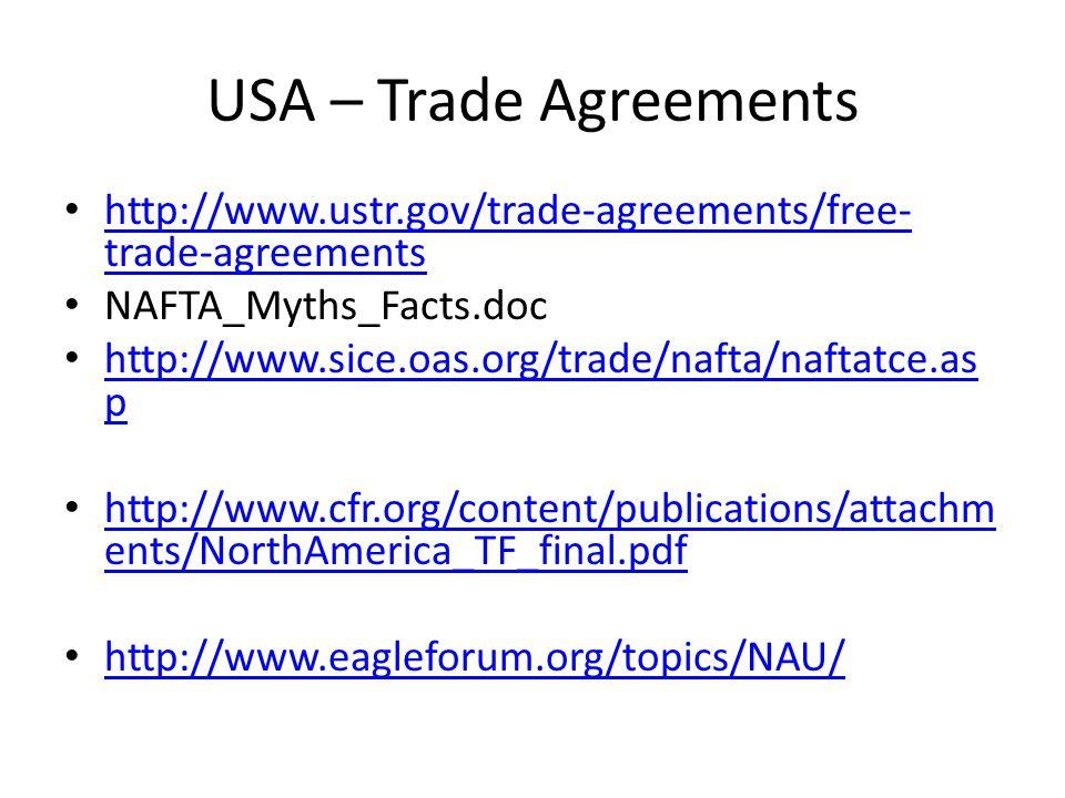 USA – Trade Agreements http://www.ustr.gov/trade-agreements/free-trade-agreements. NAFTA_Myths_Facts.doc.