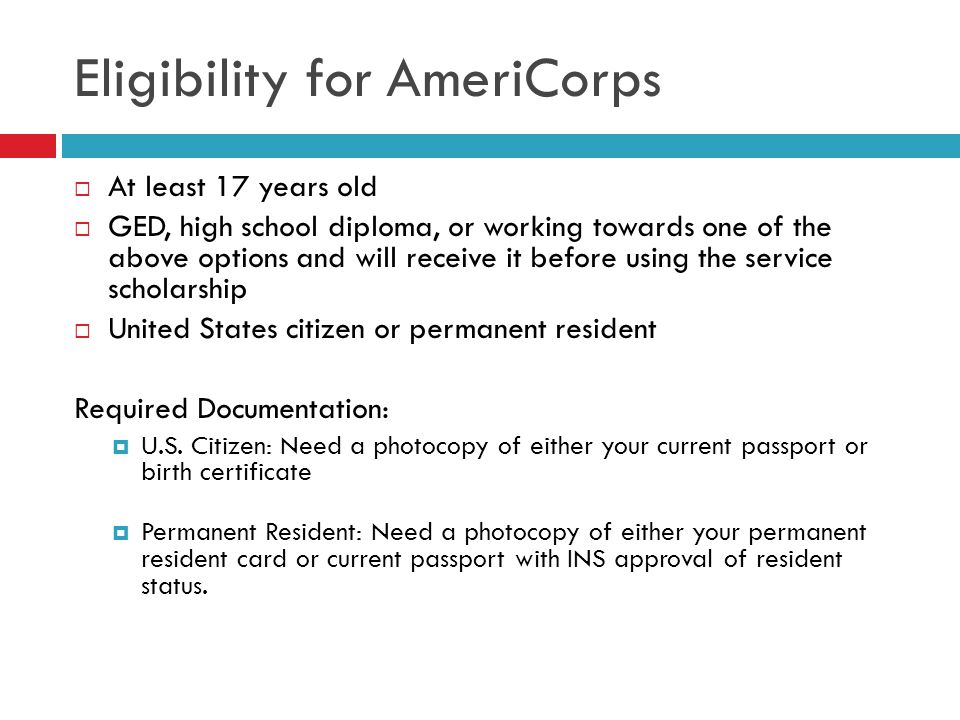 Eligibility for AmeriCorps
