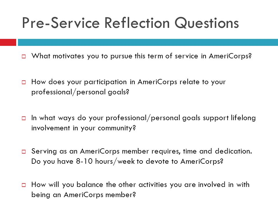 Pre-Service Reflection Questions