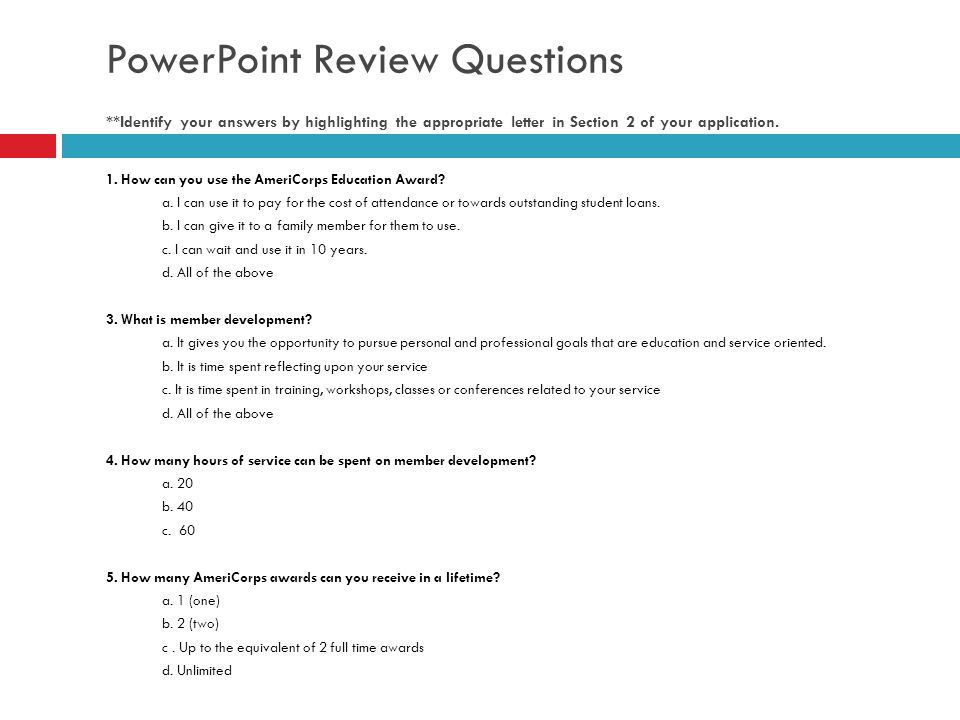 PowerPoint Review Questions