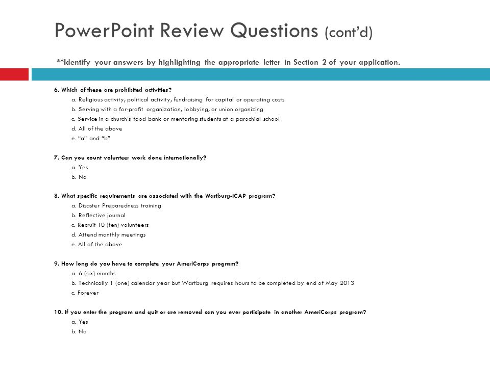 PowerPoint Review Questions (cont'd)