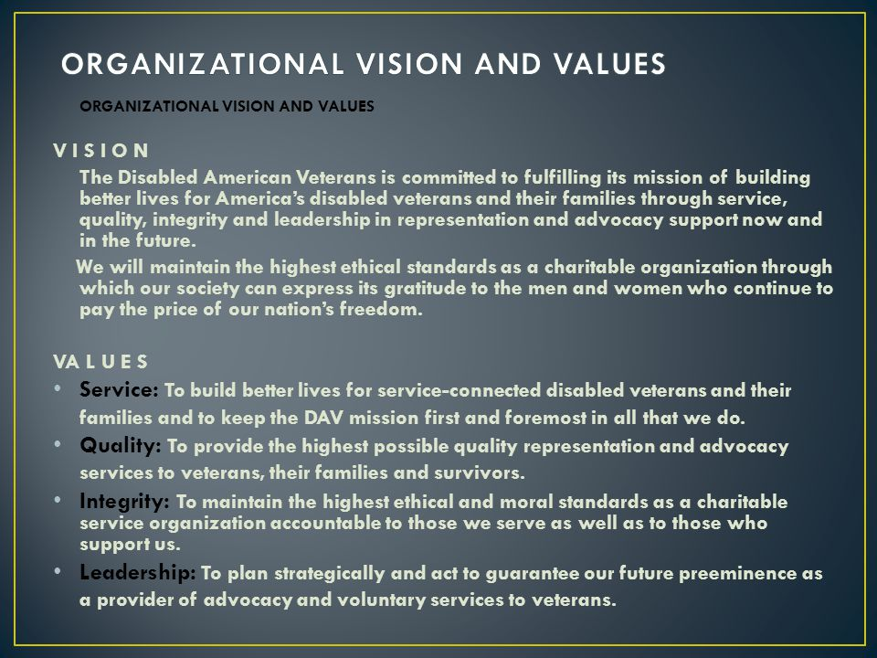ORGANIZATIONAL VISION AND VALUES