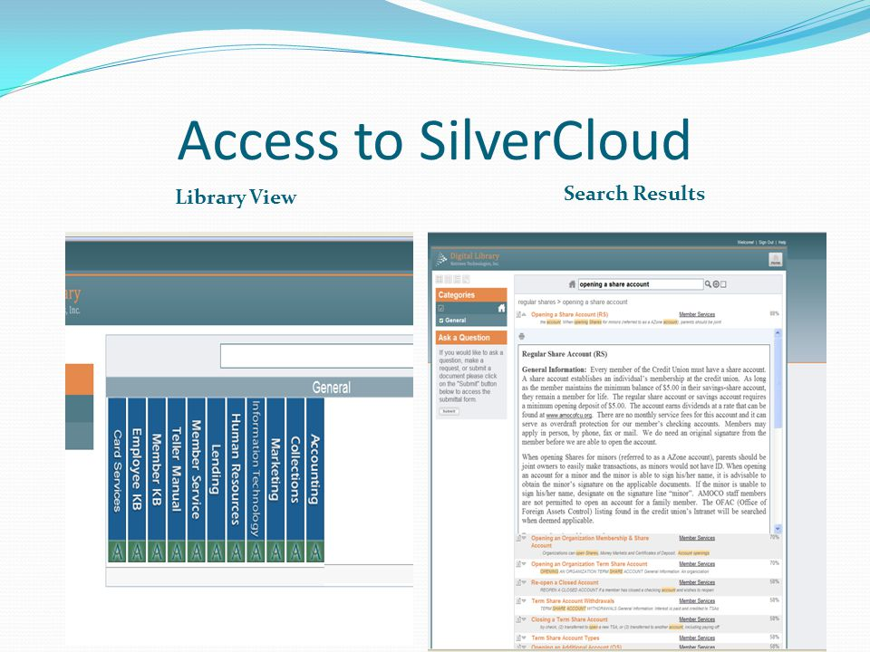 Access to SilverCloud Library View Search Results