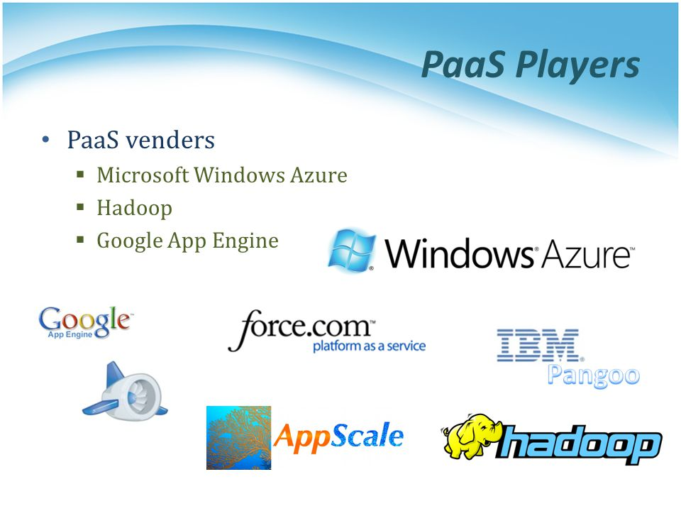 PaaS Players PaaS venders Microsoft Windows Azure Hadoop