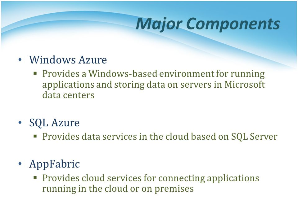 Major Components Windows Azure SQL Azure AppFabric