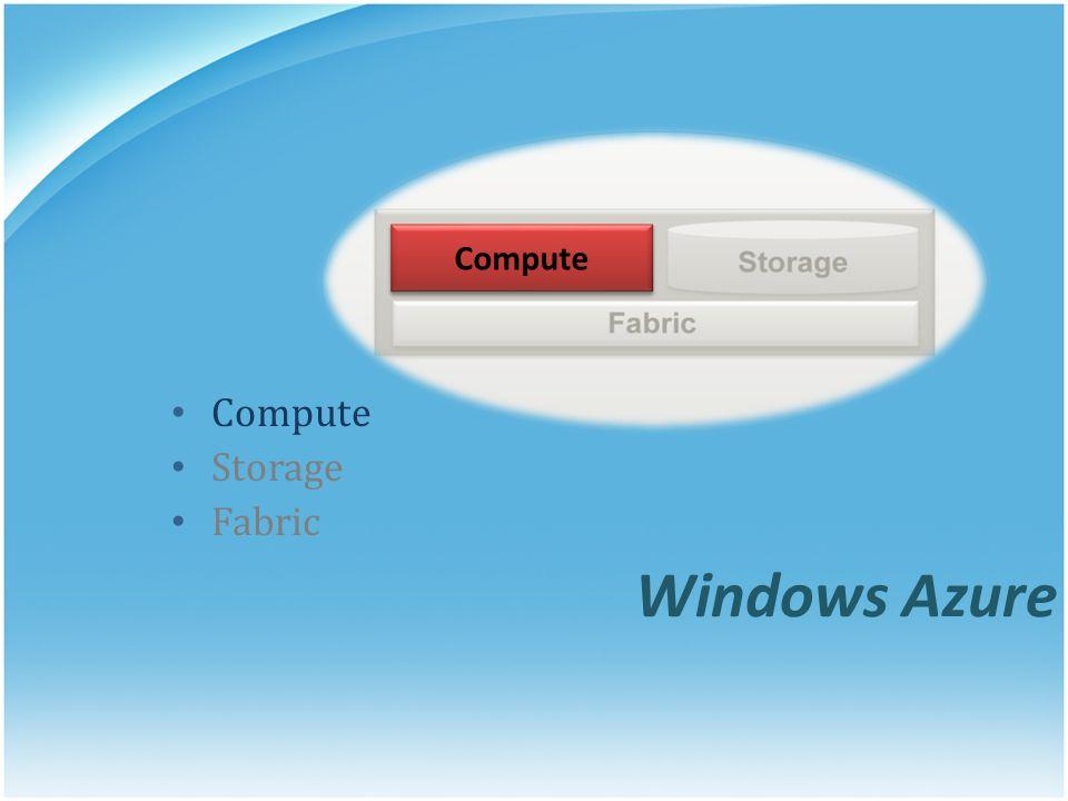 Compute Compute Storage Fabric Windows Azure