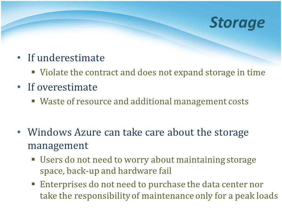 Storage If underestimate If overestimate