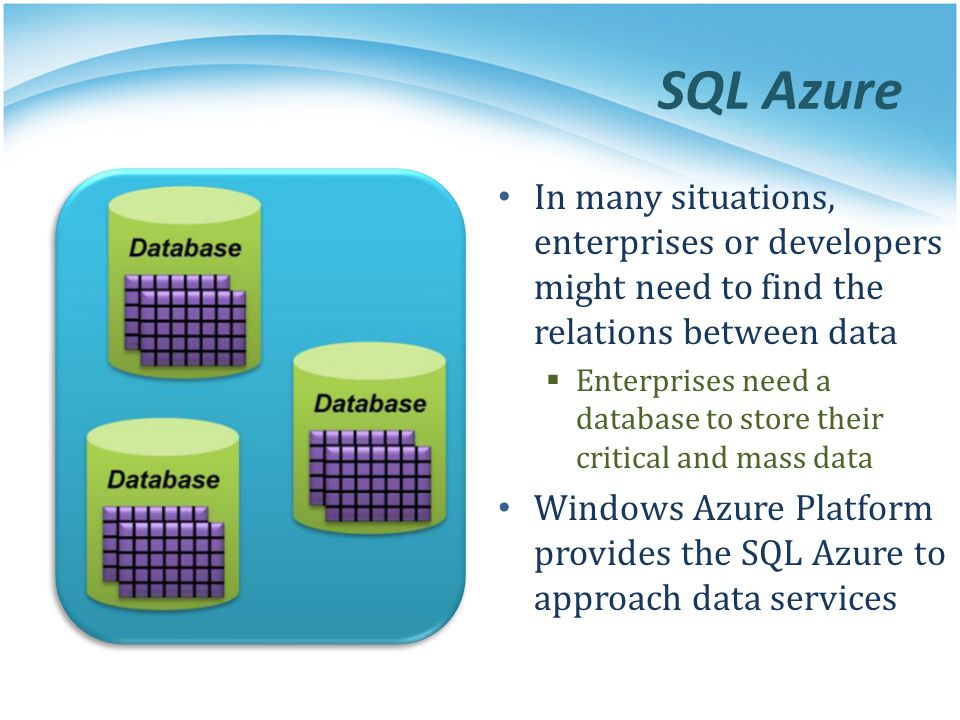 SQL Azure In many situations, enterprises or developers might need to find the relations between data.