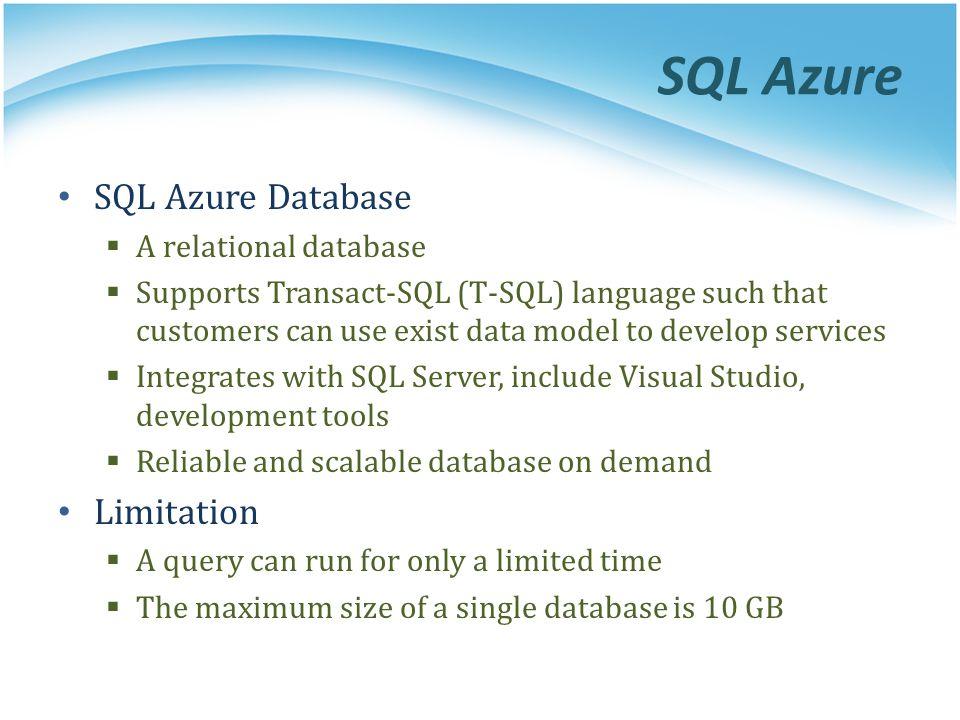SQL Azure SQL Azure Database Limitation A relational database