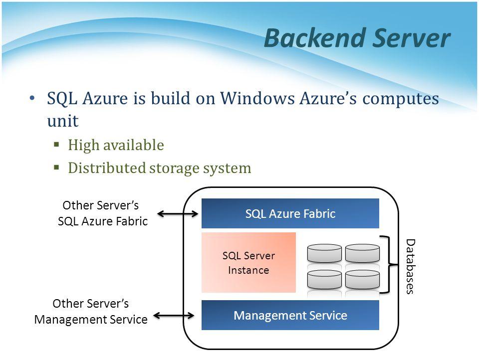 Backend Server SQL Azure is build on Windows Azure's computes unit