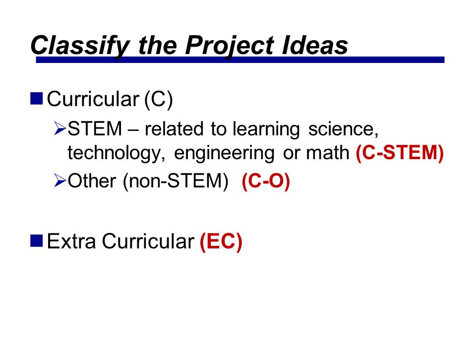 Classify the Project Ideas