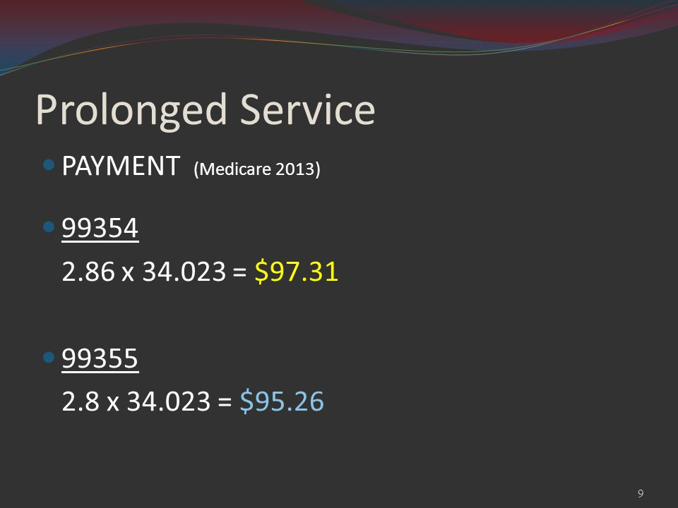 Prolonged Service PAYMENT (Medicare 2013) 99354 2.86 x 34.023 = $97.31