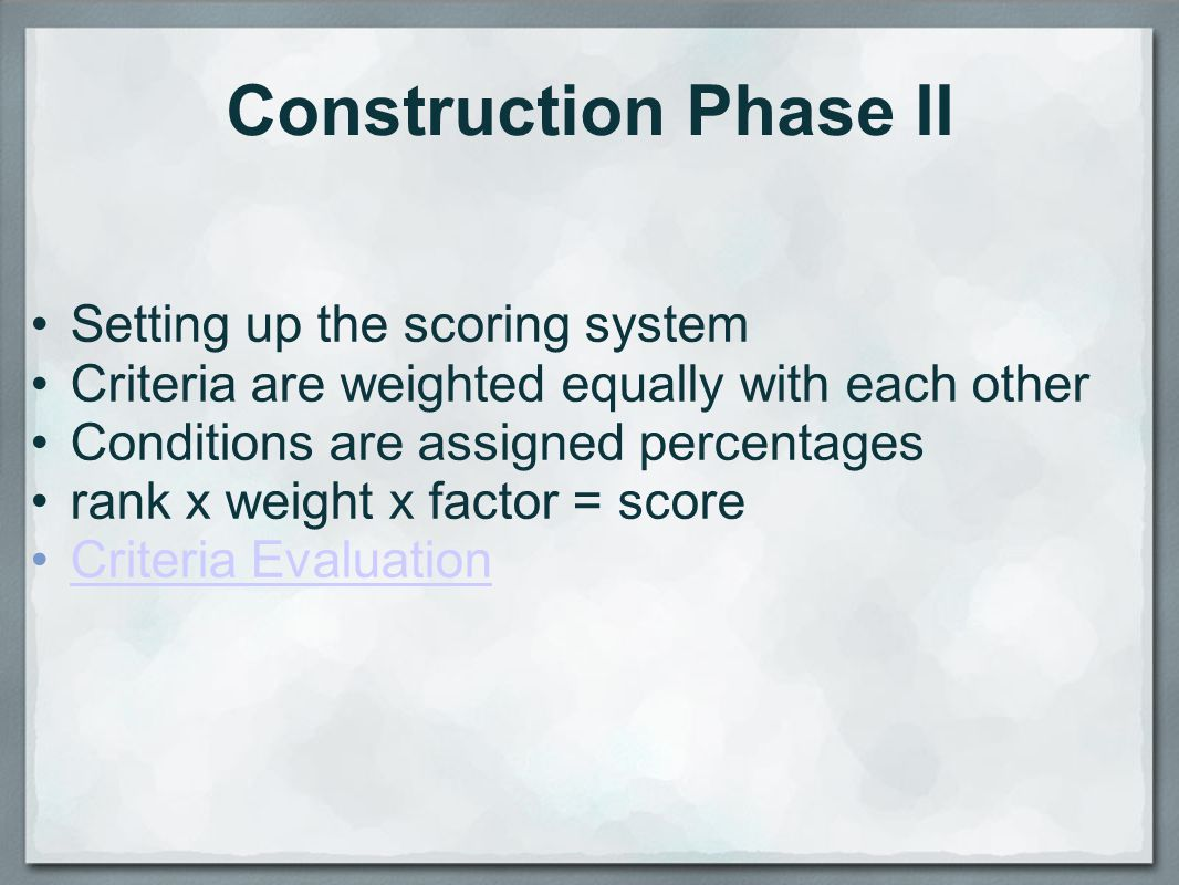 Construction Phase II Setting up the scoring system