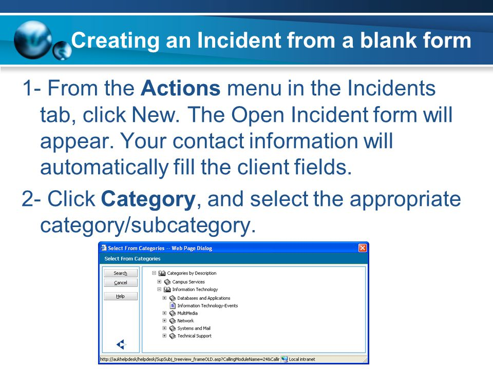 Creating an Incident from a blank form