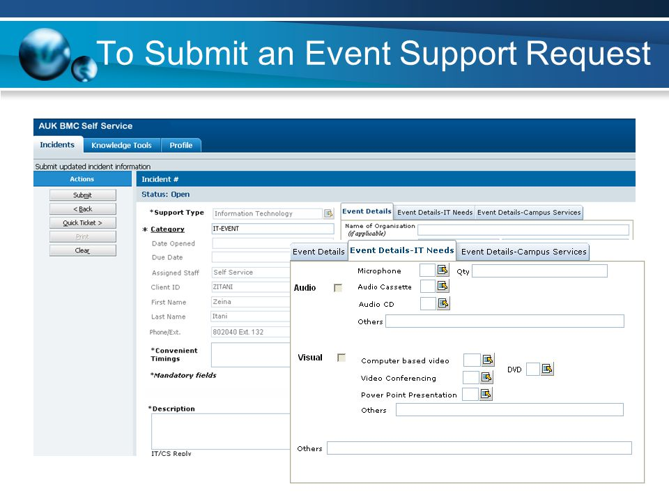 To Submit an Event Support Request
