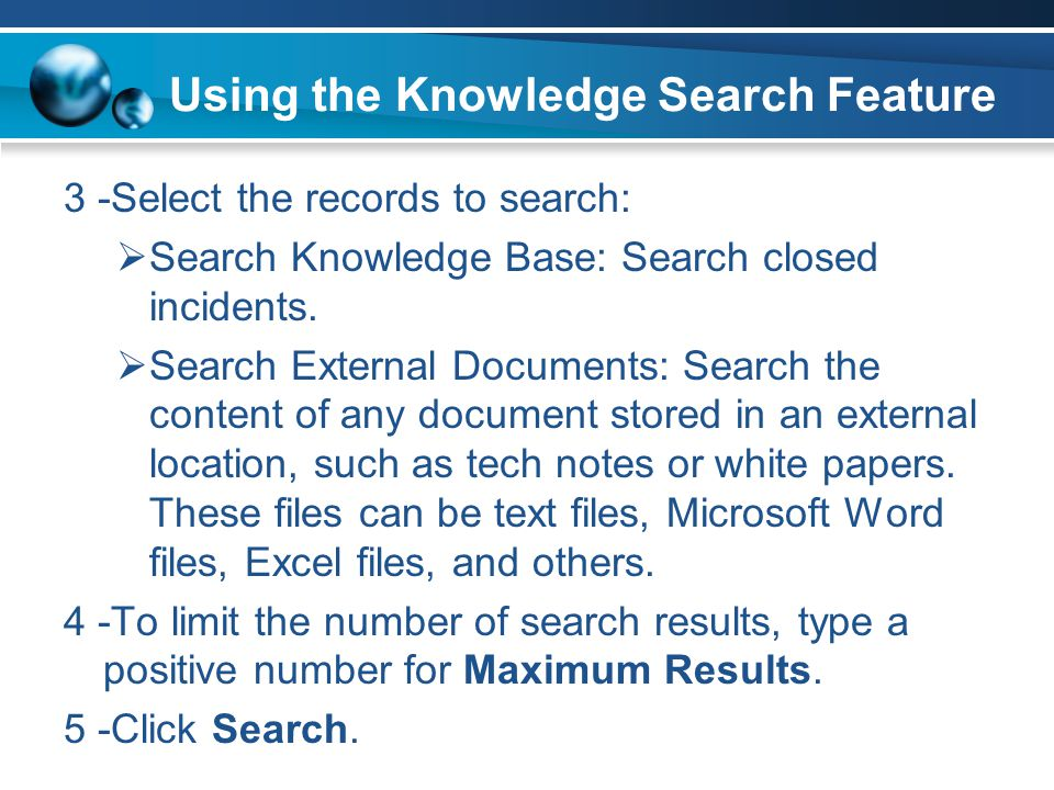 Using the Knowledge Search Feature