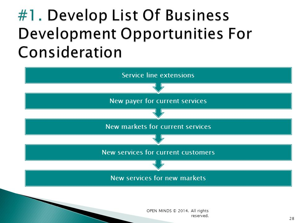 #1. Develop List Of Business Development Opportunities For Consideration