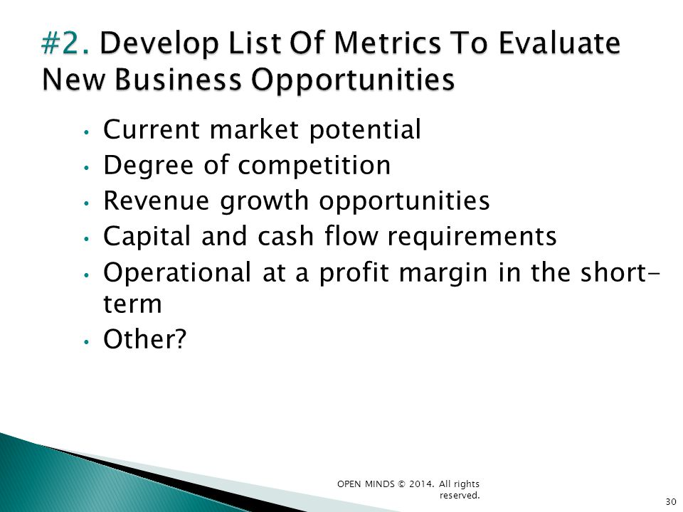#2. Develop List Of Metrics To Evaluate New Business Opportunities