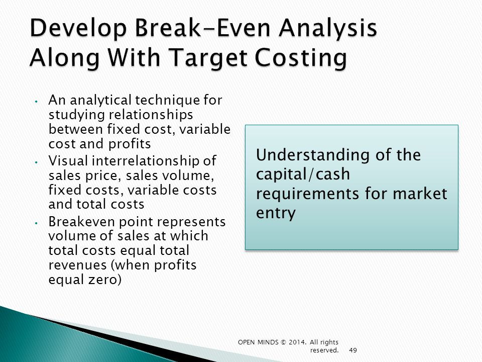 Develop Break-Even Analysis Along With Target Costing