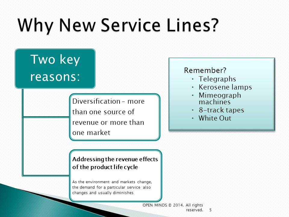 Why New Service Lines Two key reasons: Remember Telegraphs