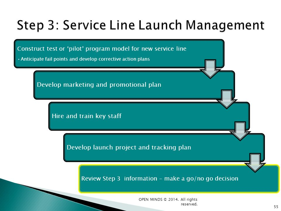 Step 3: Service Line Launch Management