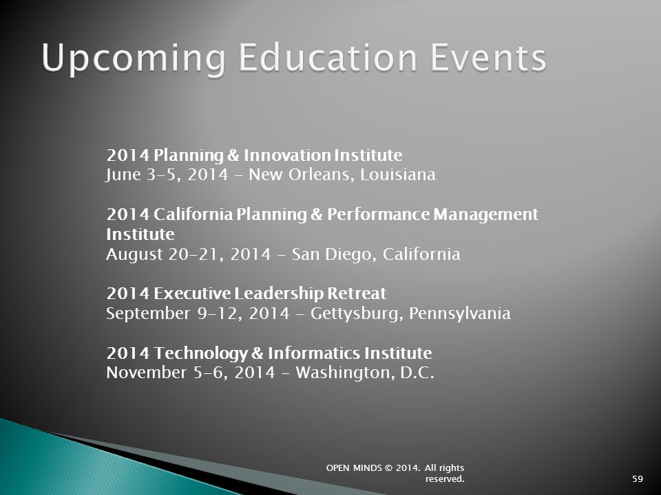 Upcoming Education Events