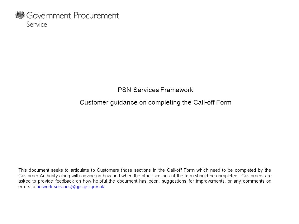 PSN Services Framework