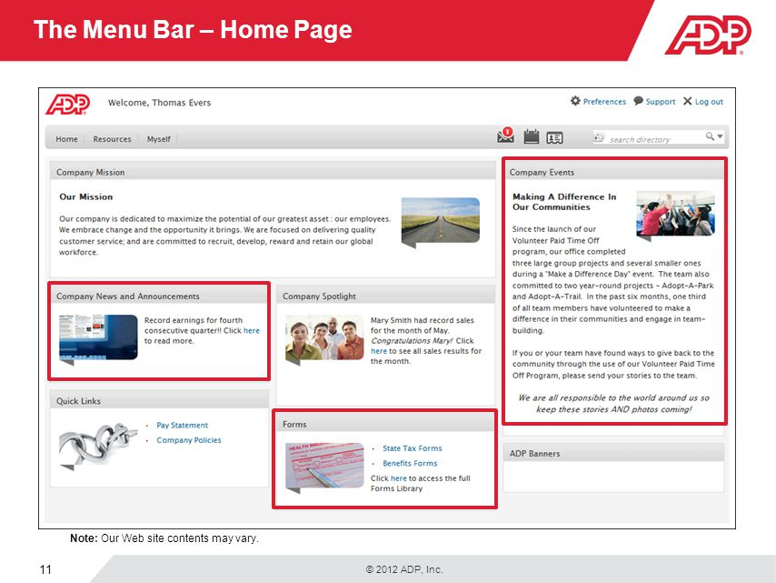 The Menu Bar – Home Page