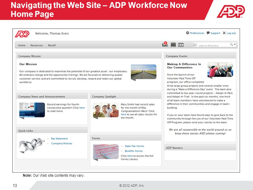 Navigating the Web Site – ADP Workforce Now Home Page