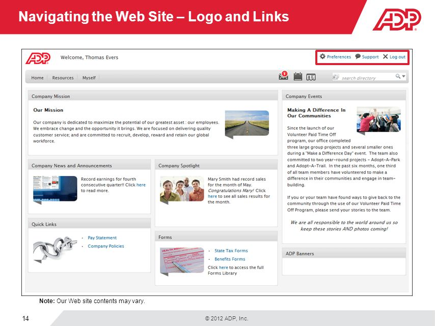 Navigating the Web Site – Logo and Links