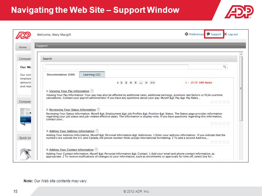 Navigating the Web Site – Support Window