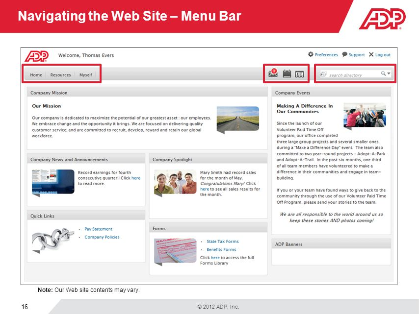 Navigating the Web Site – Menu Bar