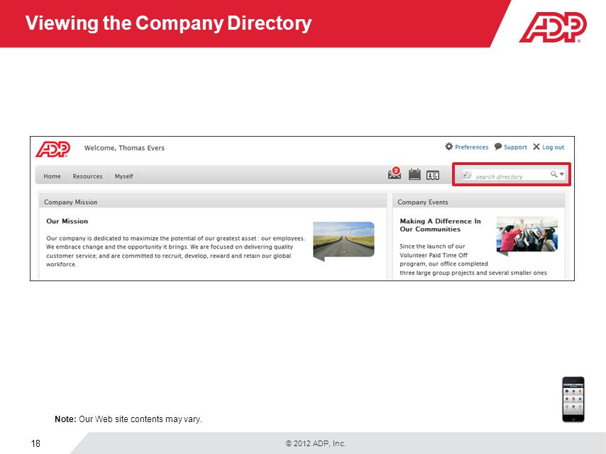 Viewing the Company Directory