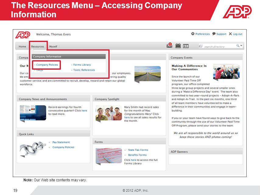 The Resources Menu – Accessing Company Information
