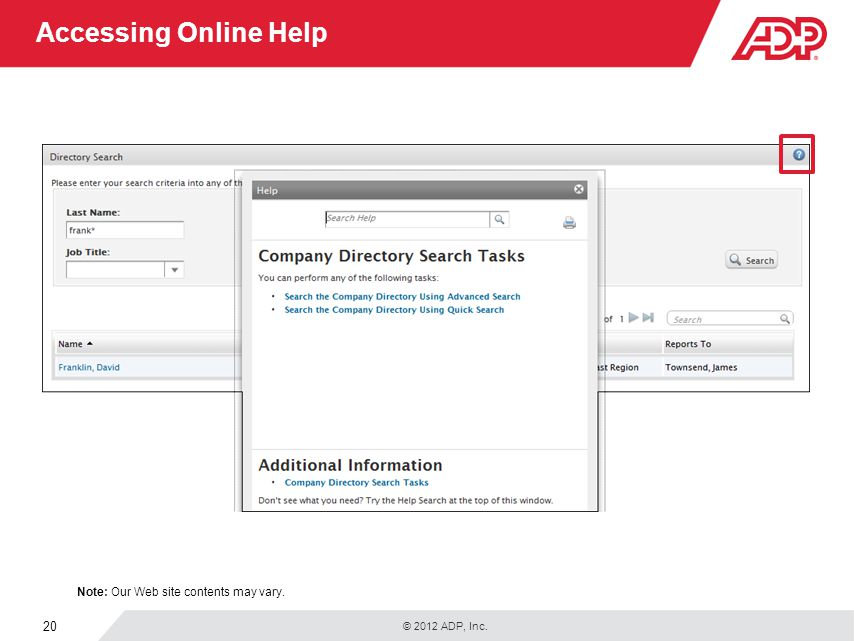 Accessing Online Help